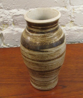 Tapered Stoneware Studio Vase with Swirl Decor