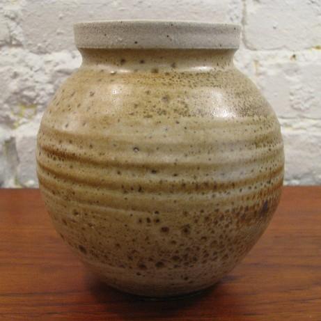 Orb Stoneware Studio Vase with Flanged Rim