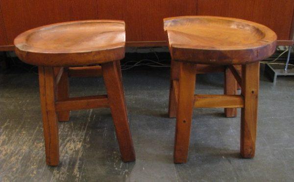 Pair of Hand Carved Primitive Teak Stools