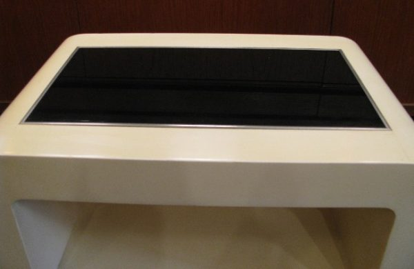 Lacquered Waterfall Side Table with Black Glass Inset Top