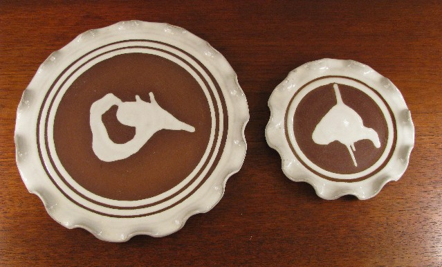 Two Scalloped Serving Plates by Stephen Pearce Pottery