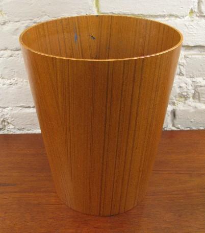 Bent Teak Plywood Waste Basket