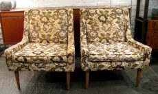 Pair of Low Armed Upholstered Club Chairs in the manner of Paul McCobb