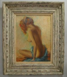 Framed 1960s Nude Oil Painting of a Draped Redhead