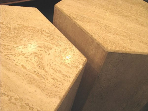 Six Sided Travertine Side Tables a Pair