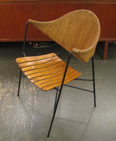 Arthur Umanoff Lounge Chair in Iron, Wood & Papercord