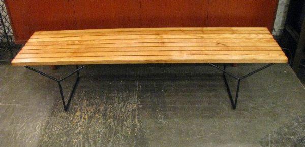 Harry Bertoia Oak and Steel Slat Bench for Knoll
