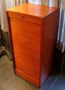 1960s Teak Tambour Door Flat File from Denmark
