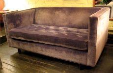 Gray Velvet Buttoned Seat Setee