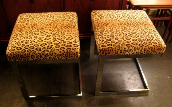 Cantilevered Chrome Upholstered Stools