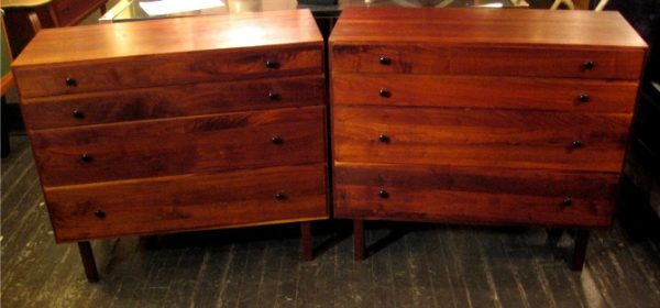 1960's Solid Walnut Four Drawer Dressers Pair