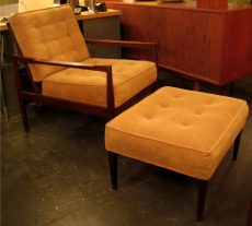 Cane Back Upholstered Walnut Club Chair & Ottoman