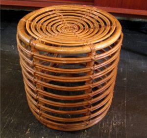 1950s Italian Wicker Cylindrical Pouffe