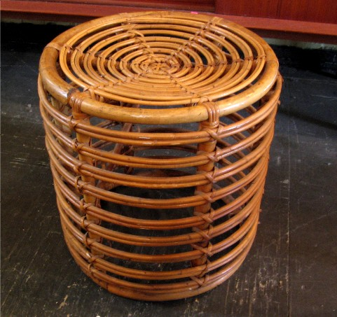 1950s Italian Wicker Cylindrical Pouffe