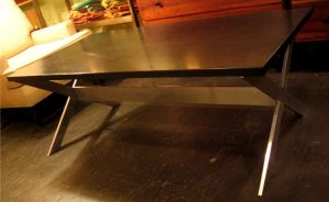 Aluminum X Based Coffee Table with Slate Top