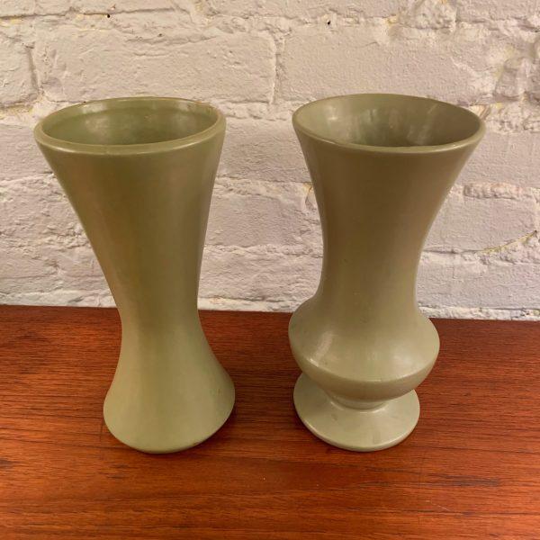 Floraline Vases in Matte Avocado Green Glaze