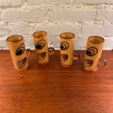 Set of Four Hand Glazed Coffee Cups from Japan
