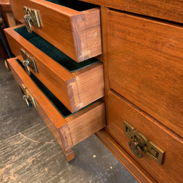 Small Lacquered Teak Chinoise Campaign Chest