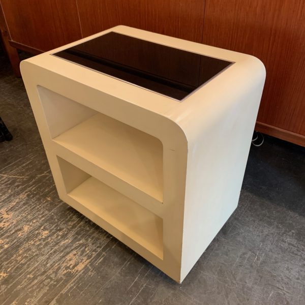 Small Lacquered Wood, Glass & Aluminum Bedside Table
