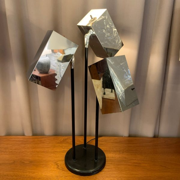 Koch & Lowy Three Headed Chrome Articulating Table Lamp