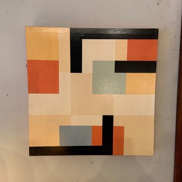 Pair of Mondrian Inspired Square Paintings