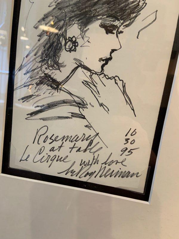 Leroy Neiman Original Table Side Sketch at Le Cirque circa 1995