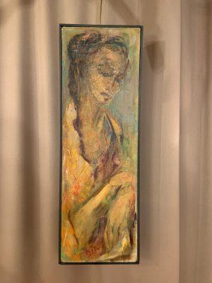 Portrait of a Woman, Oil on Canvas by Polan Circa 1960