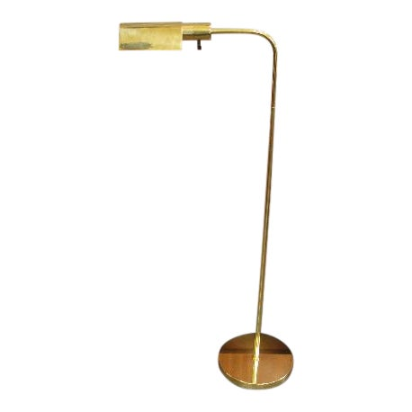 Brass Floor Lamp with Tent Shade by George Hansen
