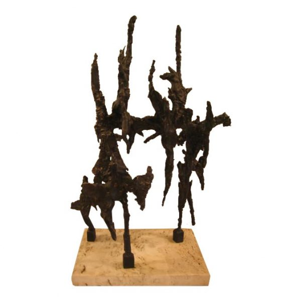 Brutalist Style Bronze Table Sculpture by George Koras