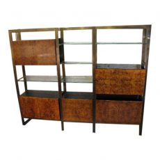 Burlwood, Brass and Glass Wall Unit by John Stuart
