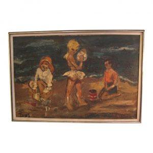 Framed 1960s Oil Modernist Painting Children On Beach