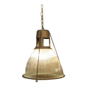 Gray Metal and Glass Industrial Pendant Lamp