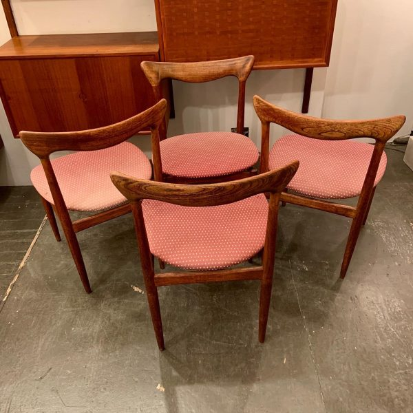 H. W. Klein Sculpted Back Dining Chairs of Walnut- Set of 4