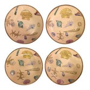 Japanese Hand Painted Porcelain in Brass Sea Shell Bowls - Set of 4