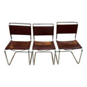 Mart Stam Tubular Chrome and Leather Chairs- Set of Three