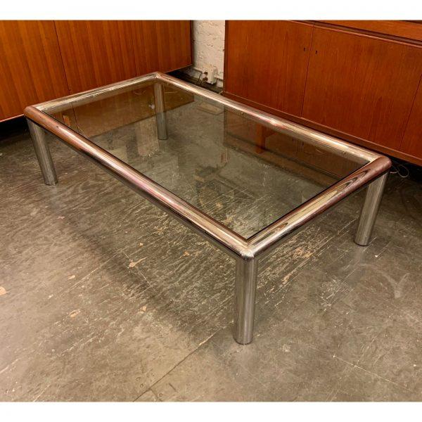 "Modern Aluminum & Glass ""Tubo"" Coffee Table by John Mascheroni"