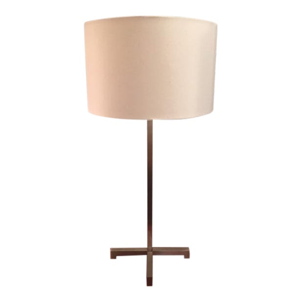 Nessen Nickel Plated X Base Table Lamp With Shade