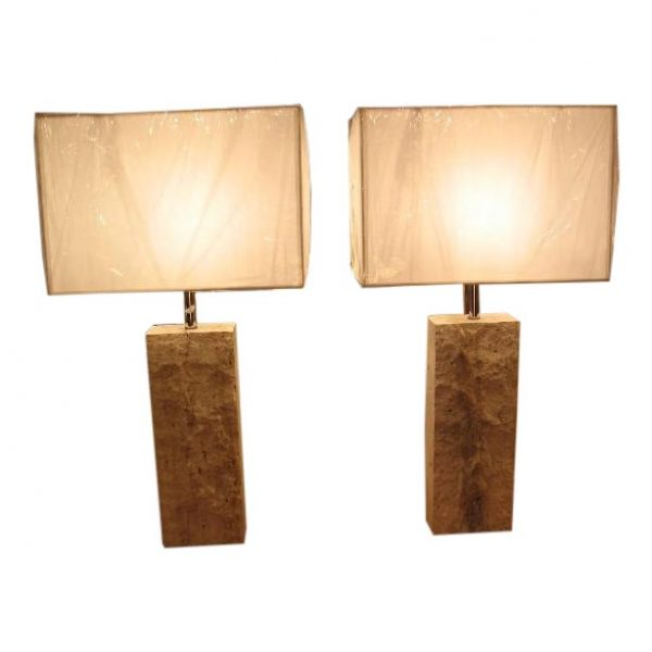 Pair of Brutalist Travertine Table Lamps