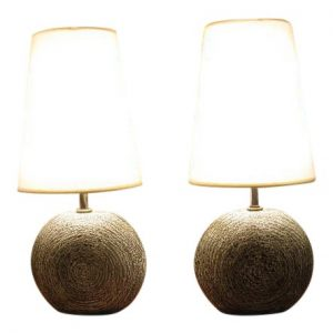 Pair of Ceramic Disc Shaped Lamps by Kelby
