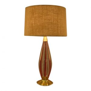 Red & White Striped Murano Glass Table Lamp
