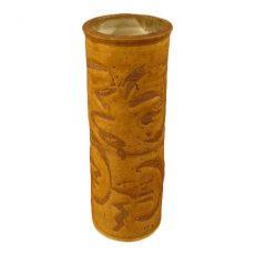 Stoneware Cylinder Studio Vase W/ Asian Decor