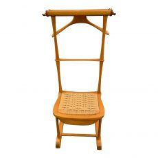 Vintage Italian Birch & Brass Valet Chair with Drawer