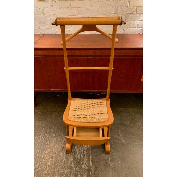 Vintage Italian Birch & Brass Valet Chair with Drawer