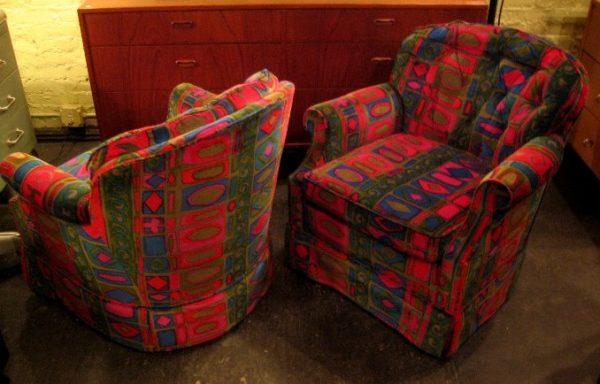 Pair of Swivel Club Chairs in Jack Lenor Larsen Fabric