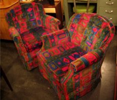 Pair of Swivel Club Chairs in Jack Lenor Larsen Fabric