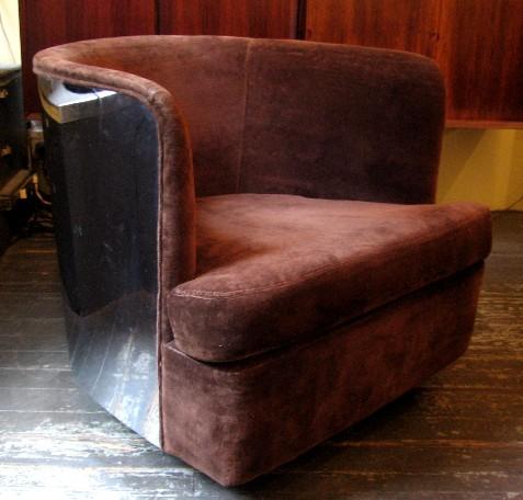 Milo Baughman Chrome Barrel Back Club Chair