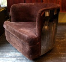 Milo Baughman Chrome Barrel Back Club Chair