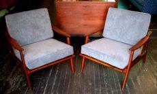 Pair of Teak Frame Club Chairs