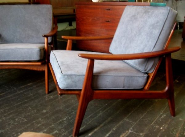 Pair of Teak Frame Club Chairs