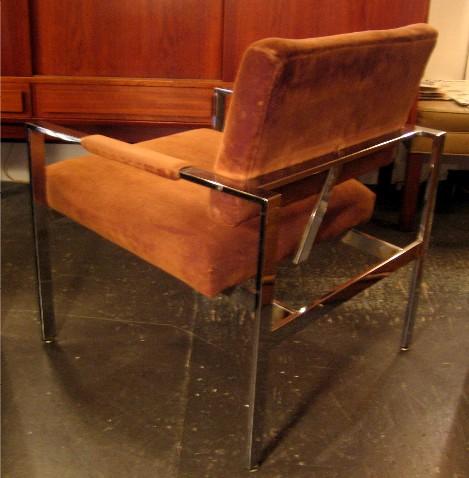 Milo Baughman Chrome Frame Club Chair